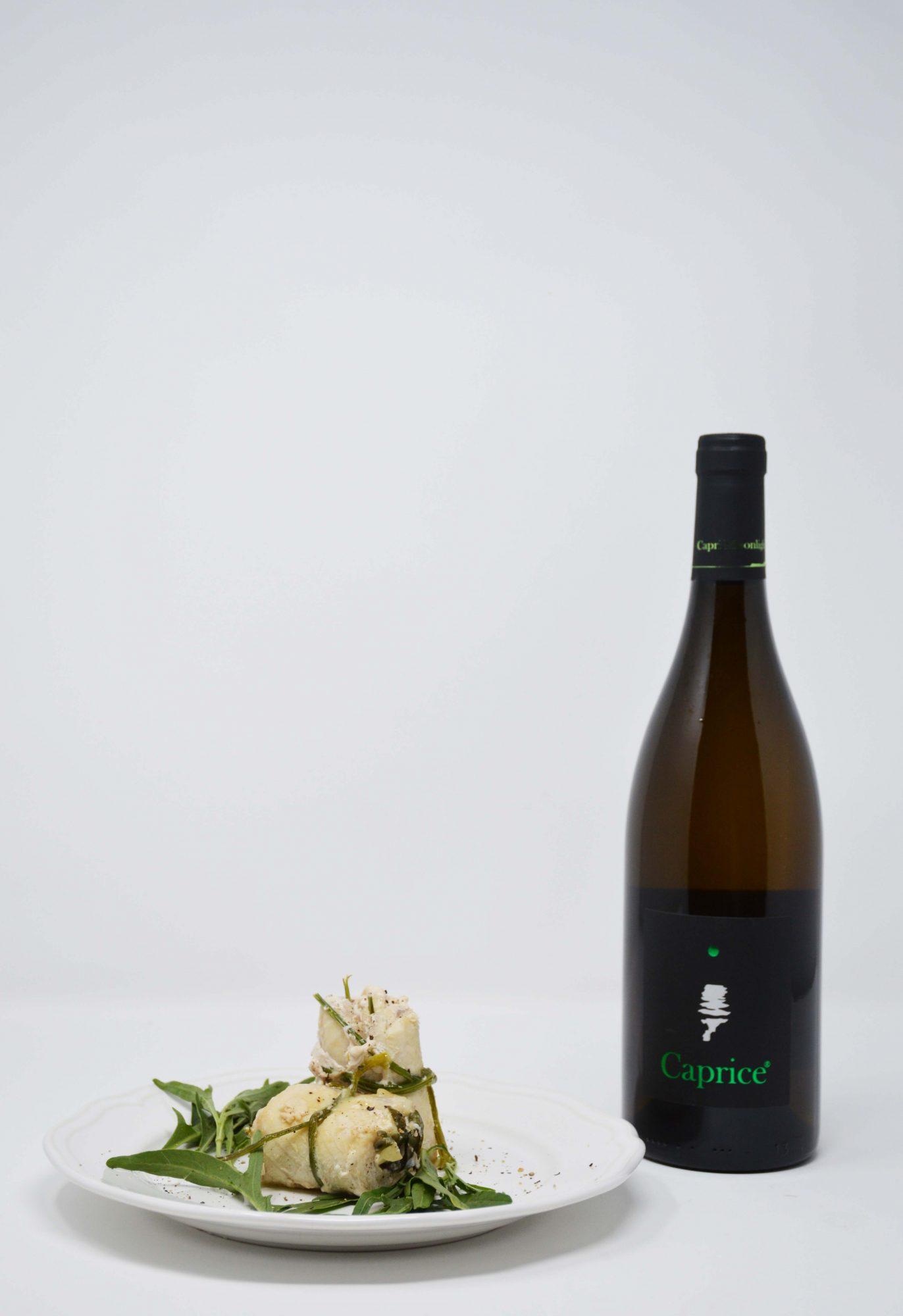 Caprice Bianco – Greco IGP by Capri Moonlight ed Involtino di pesce spada
