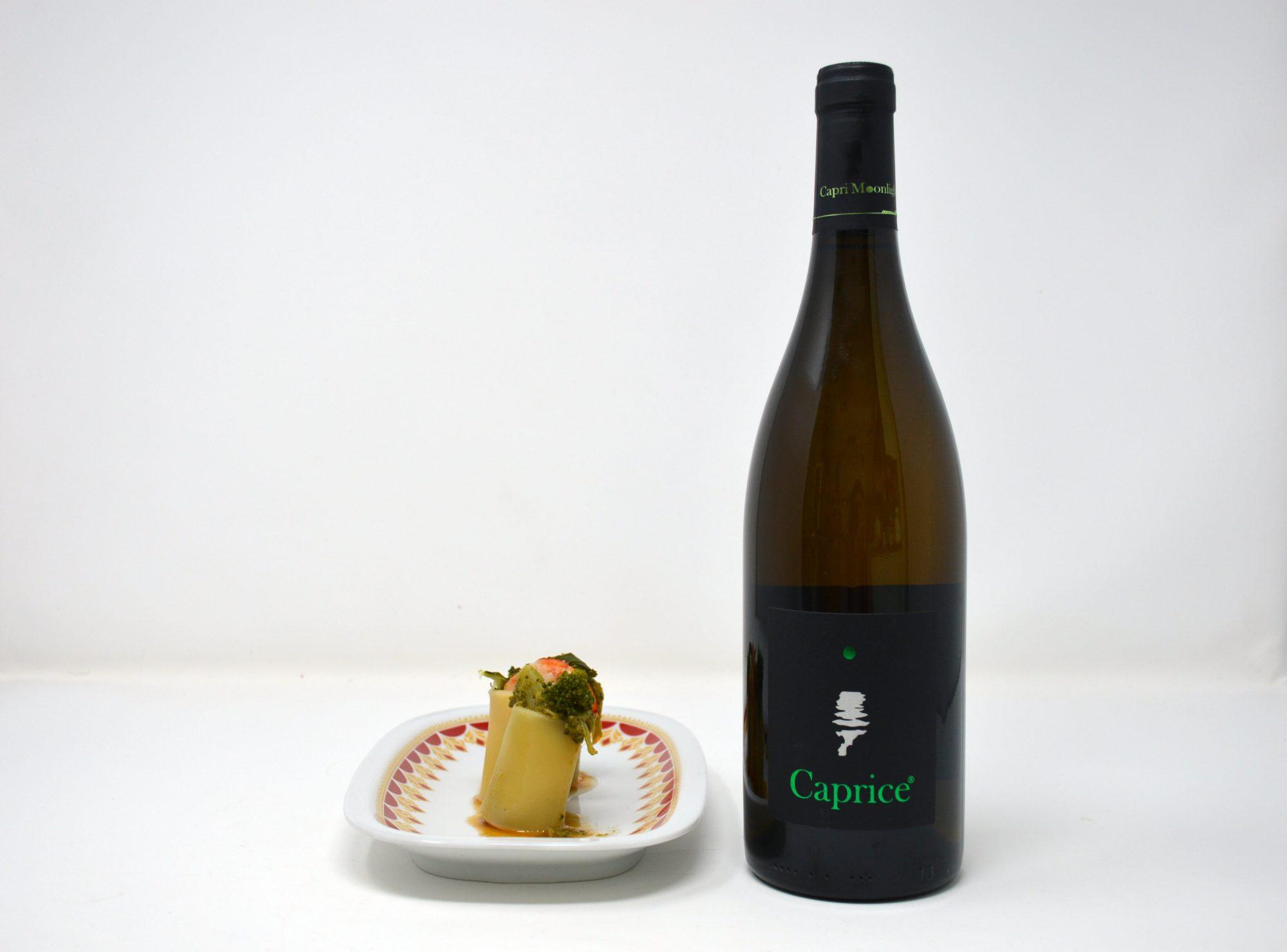"""Paccheri con cime di rapa e gamberi e Greco """"Caprice bianco"""" di Capri Moonlight: il piatto e il vino del buonumore"""